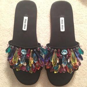 Miu Miu Embellished Slides